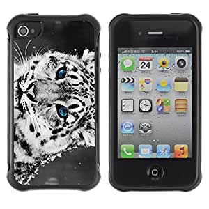 Hybrid Anti-Shock Defend Case for Apple iPhone 4 4S / Cool Snow Leopard
