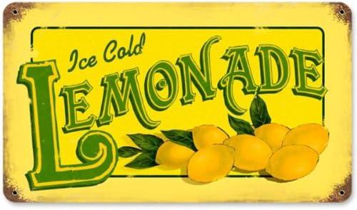 Farmers Market Fresh Lemonade Round Sign Tin Vintage Garage Bar Decor Old Rustic