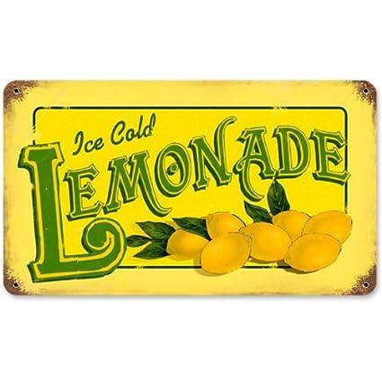 amazon com lemonade food and drink vintage metal sign victory