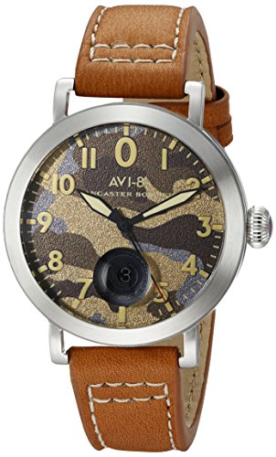 AVI-8 Men's AV-4020-08 Lancaster Bomber Stainless Steel Watch with Brown Leather Band