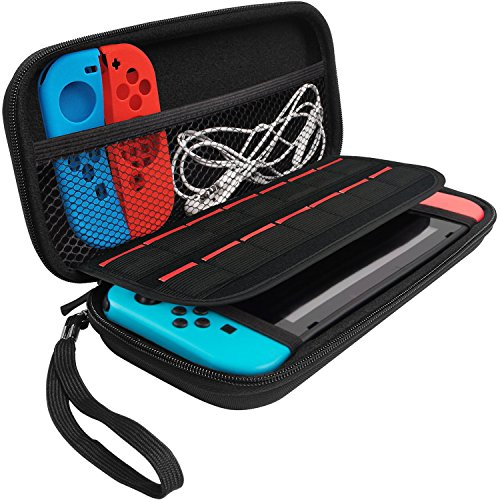Nintendo Switch Case,MBLAI Travel Carrying Case with Built-in 14 Game Card Holders Double Zipper Protective Storage Cover Cases Bag for Switch Console & Accessories Black - Exclusive Carrying Case