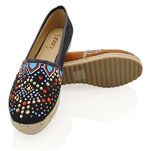 Schwarz ESSEX Flache Slip Espadrilles Freizeitschuhe Faux Damen GLAM Damen Pumps Wildleder Diamante On Holiday r1Enw6PTrx