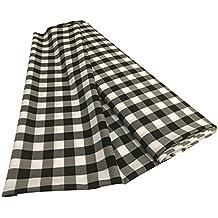 "LA Linen 60"" Wide Gingham Checkered Fabric Flat Fold Bolt / 5 Yards / White & Black"