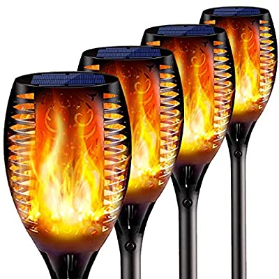 Hebilion 4PCs Solar Torch Lights Outdoor, 43 inch 96 LED, Waterproof Landscape Garden Pathway Light with Vivid Dancing Flickering Flames, with Auto On/Off Dusk to Dawn, for Christmas Lights Decoration