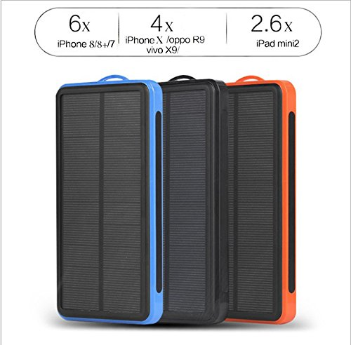 Max Power-Z Solar Charger 16000mAh Power Bank Travel Charger with Portable LED Flashlight for Camping, Hiking, Compatible Smartphone with Any Android,Windows- Blue 4335013735