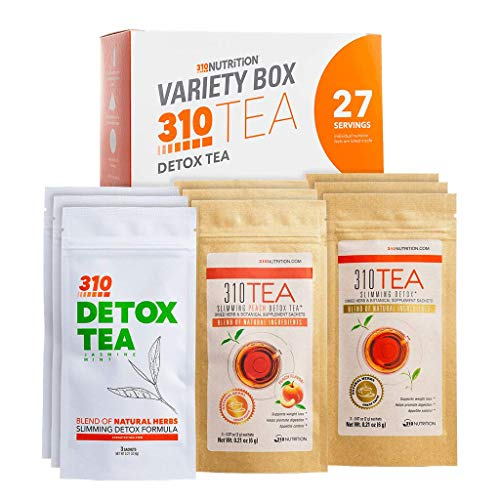 310 Nutrition, 310 Tea Slimming Detox Organic Gree Tea with Yerba Mate, Guarana, and More Natural Ingredients, Comes with Free eBook (Variety Box, 27 Servings)