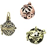 Sharefashion 3pcs Diy Retro Glow Bead Ball Pendant Fragrance Aromatherapy Essential Oil Diffuser
