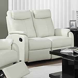 Monarch Specialties I 81Iv 2 Ivory Bonded Leather Reclining Love Seat in