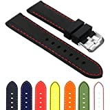 StrapsCo Rubber Divers Sport Replacement Watch Band - Choice of Colors & Width (18mm, 20mm, 22mm, 24mm or 26mm)