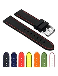 StrapsCo Rubber Divers Sport Replacement Watch Band in Black w/ Red Stitching 26mm