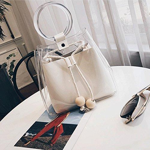 GJ Sac bandoulière - femelle gelée Pack PU Portable Crossbody Bag Leisure Bag Sacs de voyage Fashion Lady Sacs (Couleur : Kaki) Blanc
