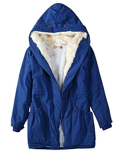 Azul Abrigo Cálido De Invierno Chaqueta Jacket Mujer Con Parka Capucha z5ZqgSxAn