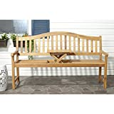 Safavieh Outdoor Collection Mischa Natural Brown Bench For Sale