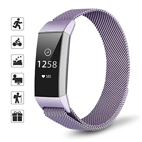 TOMALL Metal Mesh Bands for Fitbit Charge 3 Stainless Steel Replacement Wristband for Women Men (Purple)