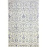 Bashian Greenwich collection HG305 hand tufted wool  amp; viscose area rug 7.9X9.9 Ivory Blue