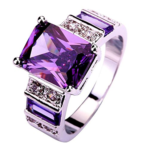 Psiroy Women's 925 Sterling Silver 5ct Created Amethyst Filled Knuckle Ring