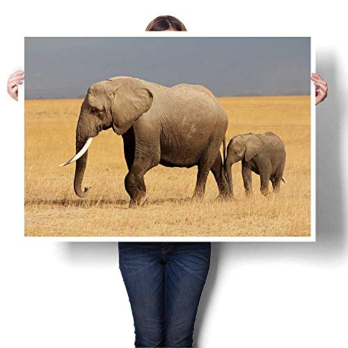 - Wall Art Painting,African Elephant (Loxodonta africana) Cow with Young Calf,Amboseli National Park,Kenya On Canvas Modern Decoration Print Decor for Living Room,32