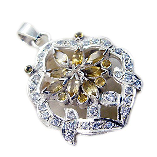 Marquise Cluster Pendant (CaratYogi Cluster Style Real Citrine Pendant Silver Marquise & Round Charms For Women Birthstone Jewelry)