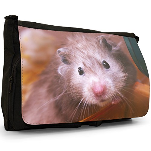 Black Hamster Laptop Shoulder Scraggy Grey Old Large Canvas Messenger Bag School qxxf1U