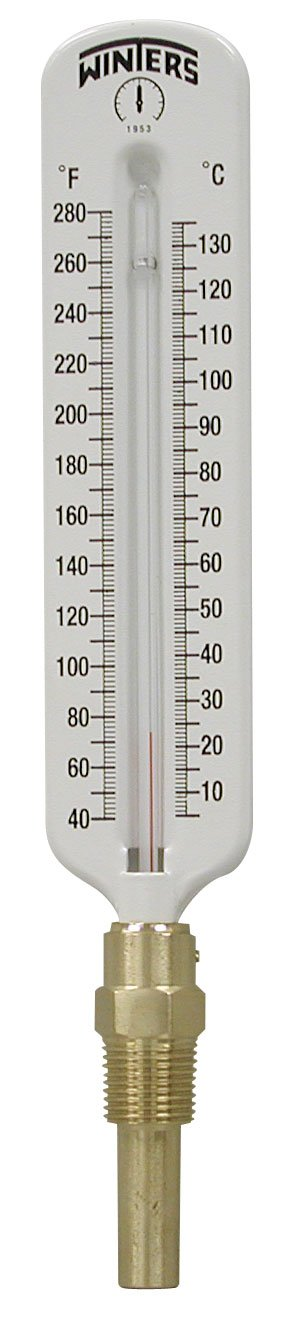 Winters TSW Series Aluminum Dual Scale Hot Water Thermometer, Scale Type, 8'' Scale, Straight, 40-280 F/C Range