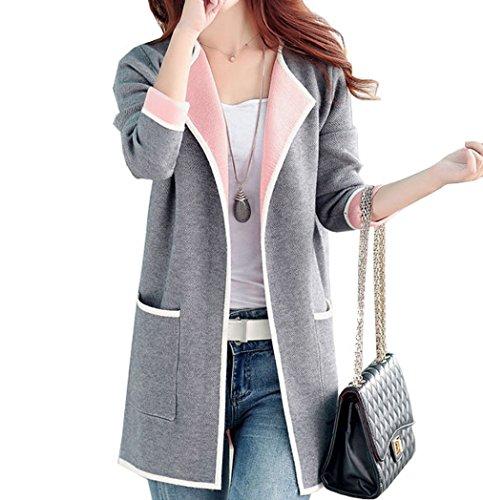 Qinni-shop Women Pink Rose Red Gray Long Loose Cardigan Sweater Jacket (M, Grey)