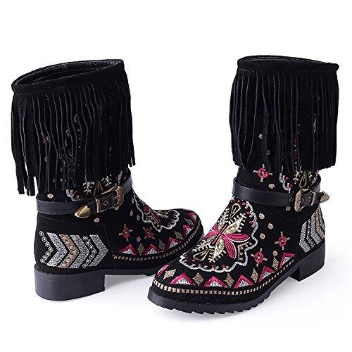 Bordados Botas 42 Debajo Nacional Mujeres DYF Flecos Zapatos Otoñales Dick Black xwHFqR0