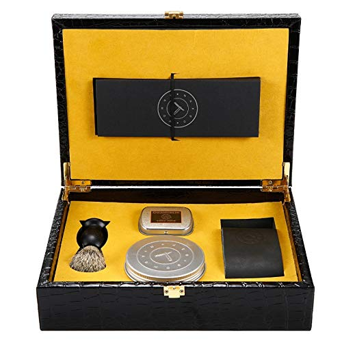 Stainless Steel Genuine Gift Box - Gold Straight Razor - Stainless Steel Straight Razor, Gift Box with Everything You Need + Leather Strop, Sleeve, Soap, Badger Friendly Brush Set, Balanced Wood Handle, Dad Gift Box (Gold)