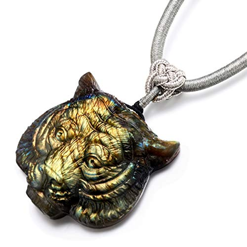 - NATURSTON Wildlife Jewelry Gemstone's Carving Tiger Head Pendant Necklace Natural Labradorite Mens Spiritual Amulet (Golden)