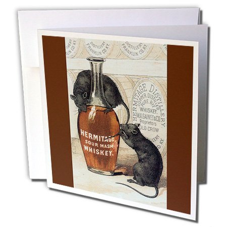 Whiskey Advertisement - 3dRose Hermitage Sour Mash Whiskey Bottle Barrels and Two Gray Rats 6 x 6 Inches Greeting Cards, Set of 12 (gc_180201_2)