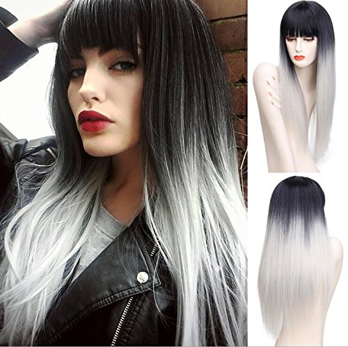Amazon.com   ZingSilky Synthetic Ombre Wigs With Bangs For Black Women Long  Straight Wig Cosplay Grey Wig Natural Looking African American Wigs  (26inch ed30a89f66