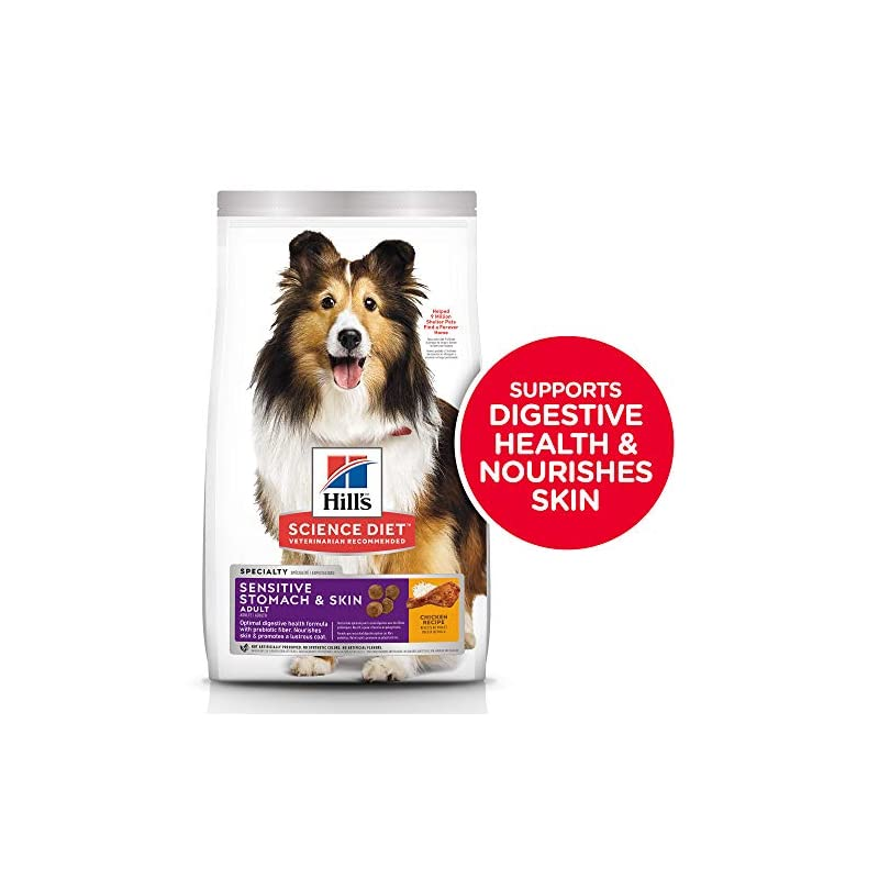 dog supplies online hill's science diet dry dog food, adult, sensitive stomach & skin, chicken recipe, 30 lb bag