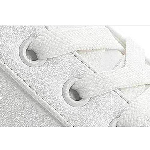 L@YC Femmes Chaussures plates au printemps Chaussures de sport accrues de loisirs Lacets , white , 34