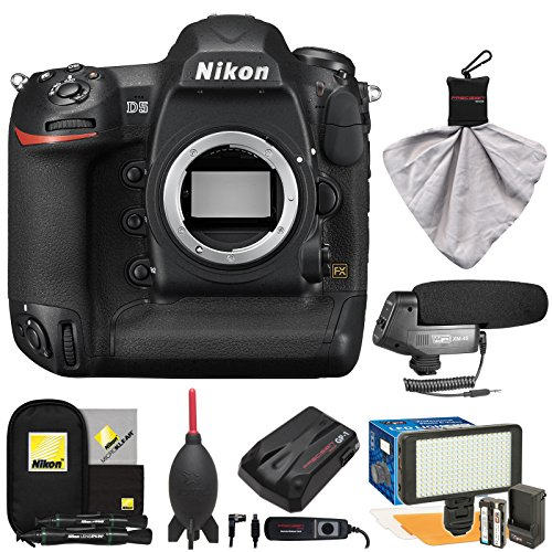 Nikon D5 Digital SLR Camera Body (Dual XQD Slots) with Microphone + LED Video Light + GPS Unit + Kit ()