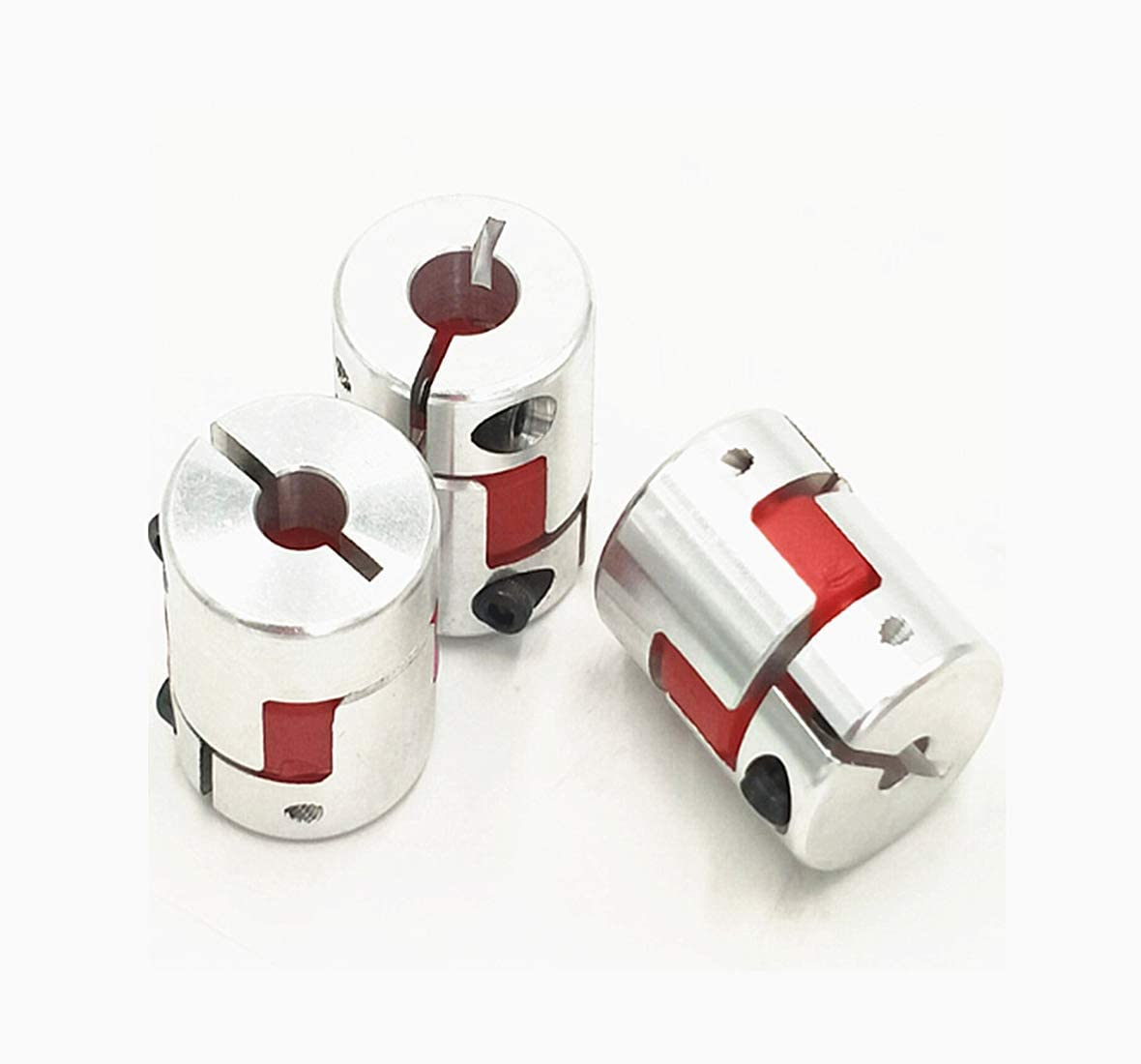 3Pcs 6.35x10mm CNC Stepper Motor Jaw Shaft Coupler 6.35mm to 10mm Aluminum Flexible Jaw Spider Plum Coupling D25L30 Connector for CNC Router Engraving Milling Machine/3D Printer - -
