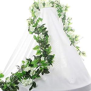 HEJIAYI 3 Pack 96 Inch Rose Vine Silk Flower Garland Artificial Flowers Plants Leaf Vine for Home Wedding Decoration (White) 95