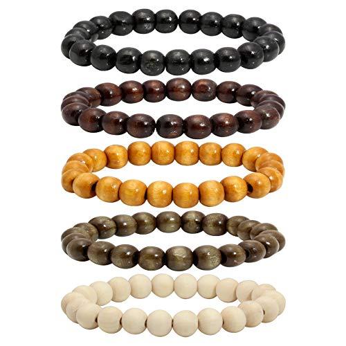 MILAKOO 5 Pcs Wooden Beaded Bracelet Bangle for Men and Women Elastic 10MM Beads ()