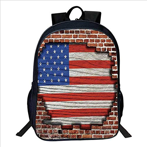 Rustic American USA Flag Multifunctional School Bag,Fourth of July Independence Day Vintage Brick Wall Looking Architecture Backdrop for School Travel,11