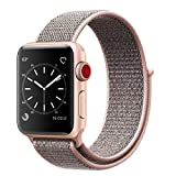 Smart Watch Band Pink Sand Sport Loop, Uitee Newest Woven Nylon Band for Apple Watch Series 38mm 3/2/1 , Comfortably Light With Fabric-Like Feel Wrist Strap Replacement with Classic Buckle