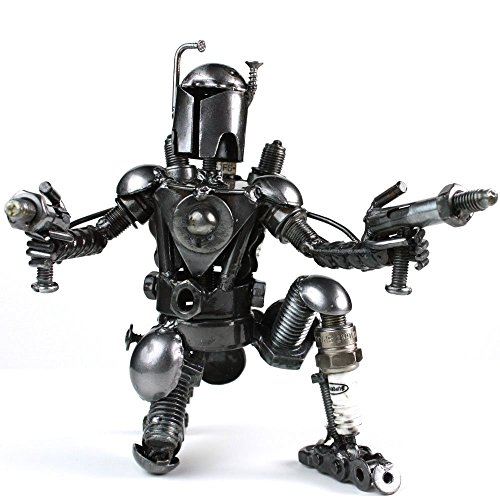 - Recycled/scrap metal Kneeling warrior sculpture handmade 6.5 Tall