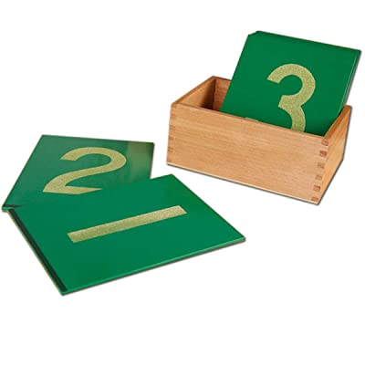 New Sky Enterprises Montessori Sandpaper Numbers Math Material Wooden Card with Container Box for Toddler Kids Early Development Education Aids: Toys & Games