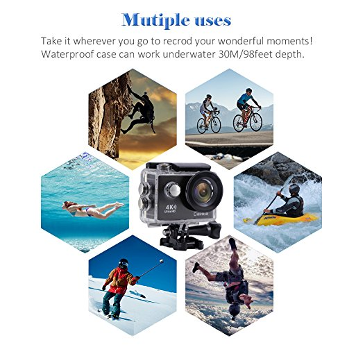 Action Camera Waterproof 4K Underwater Camera Video Sport Camera WiFi Davola 16MP Ultra HD with Remote Control 170° Wide Angle Lens 2 Rechargeable Batteries and Mounting Accessories Kit by Davola (Image #4)