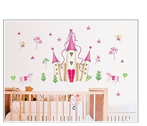 Romote Wall Stickers Arte Grandi Principessa delle Fate Castello Sticker Stickers murali Bambini