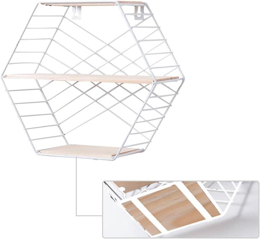 Starter /Étag/ère de rangement plantes et plus livres /étag/ère de rangement en fer /à double couche /Étag/ères flottantes mont/ées murales en m/étal /à six pans creux pour ornements jouets