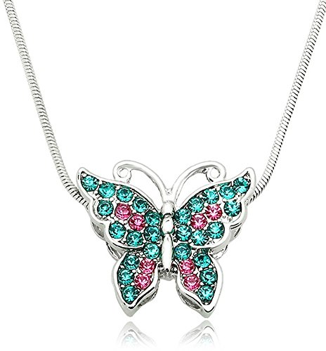 Small Silver Tone Crystal Butterfly Pendant Necklace - Choose Pink, Purple, Teal, or Multicolor (Teal Blue) (Small Butterfly Pendant)