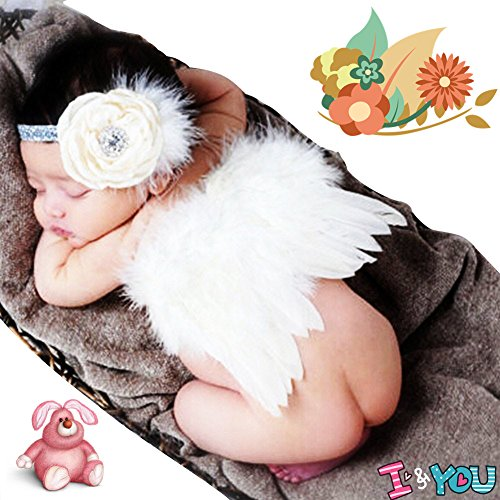 CiaraQ Newborn Baby Photography Props Feather Angel Wings and Rhinestone Headband Set Baby Hair Accessories Photo Prop Costume (White) -