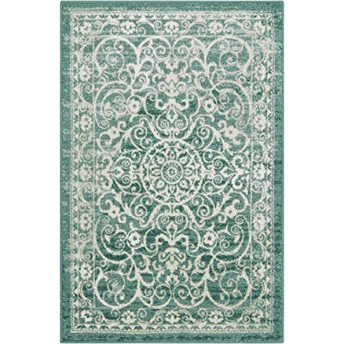 Maples Rugs Pelham 5 x 7 Large Area Rugs [Made in USA] for Living, Bedroom, and Dining Room, Light Spa ()