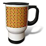 3dRose Anne Marie Baugh - Patterns - Cute Pink, Green, and Red Mexican Guitars On Orange Pattern - 14oz Stainless Steel Travel Mug (tm_295471_1)