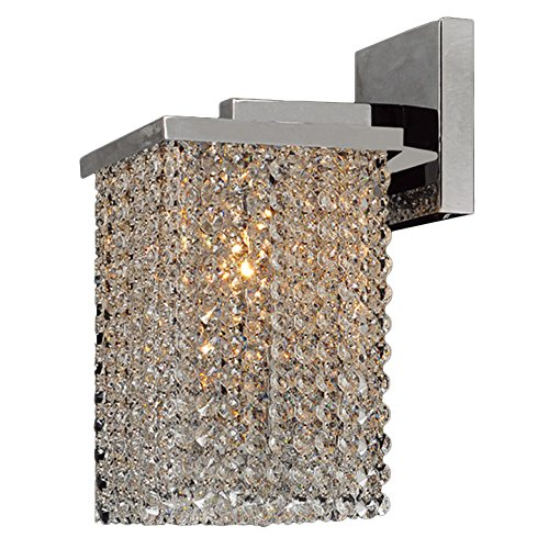 Worldwide Lighting W23765C6 Prism Collection 1 Light Chrome Finish & Clear Crystal Wall Sconce Vanity Light 6 inch W x 10 inch H Small Contemporary Prism Collection 1 Light Clear Crystal Wall Sconce Vanity Light, 6