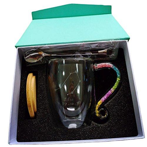 Personalized Coffee Mug Glass-Aquarius Twelve Constellations Unique Mugs Set Large 12 oz