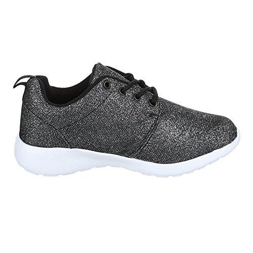Ital-Design - Zapatillas de Material Sintético para mujer Negro - Schwarz Gold